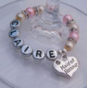 Maid Of Honour Personalised Wine Glass Charm - Full Sparkle Style